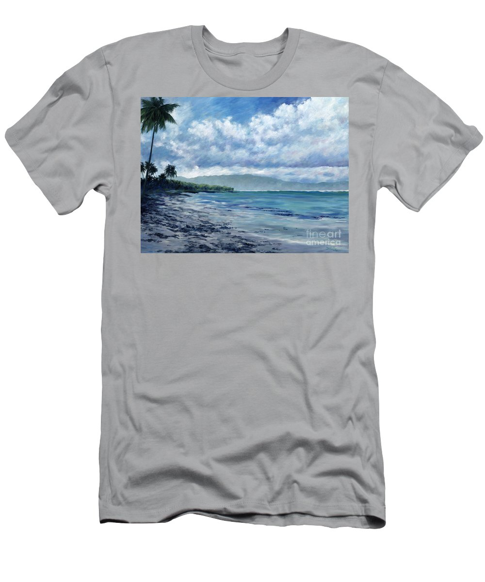 Seascape Men's T-Shirt (Athletic Fit) featuring the painting Tropical Rain by Danielle Perry