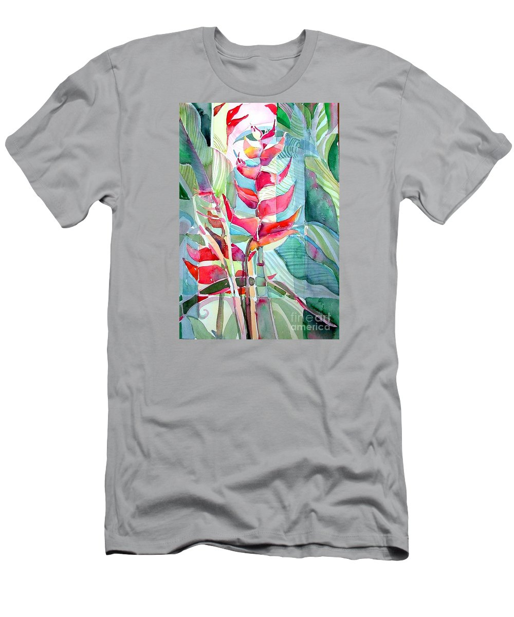 Landscape Men's T-Shirt (Athletic Fit) featuring the painting Tropicana Red by Mindy Newman