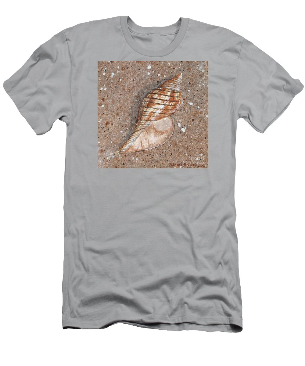 True Tulip Seashell Shell Seashore Men's T-Shirt (Athletic Fit) featuring the painting True Tulip by Michael McCurdy