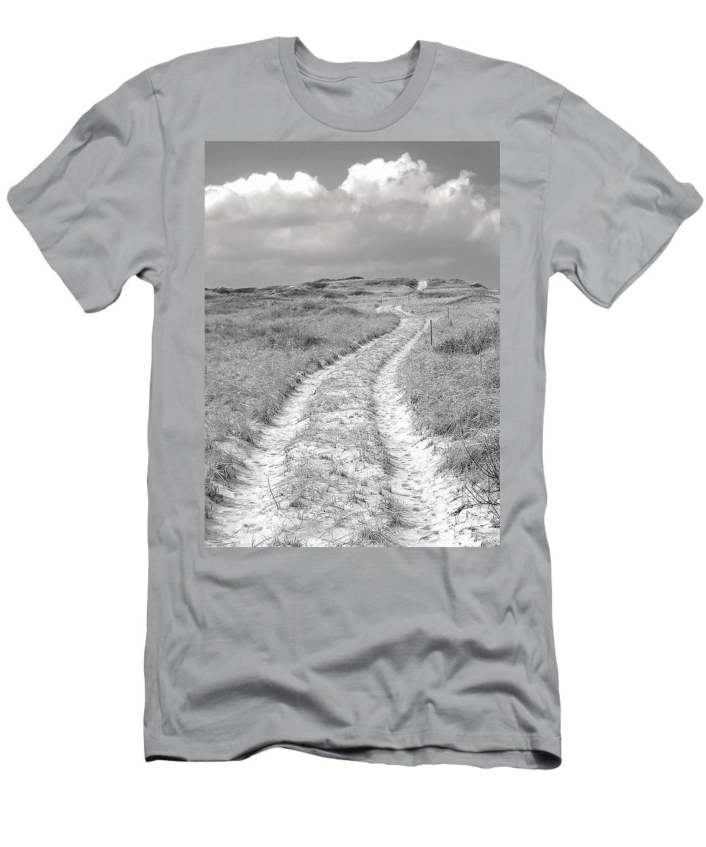 Truro Men's T-Shirt (Athletic Fit) featuring the photograph Truro Dune Trail by Charles Harden