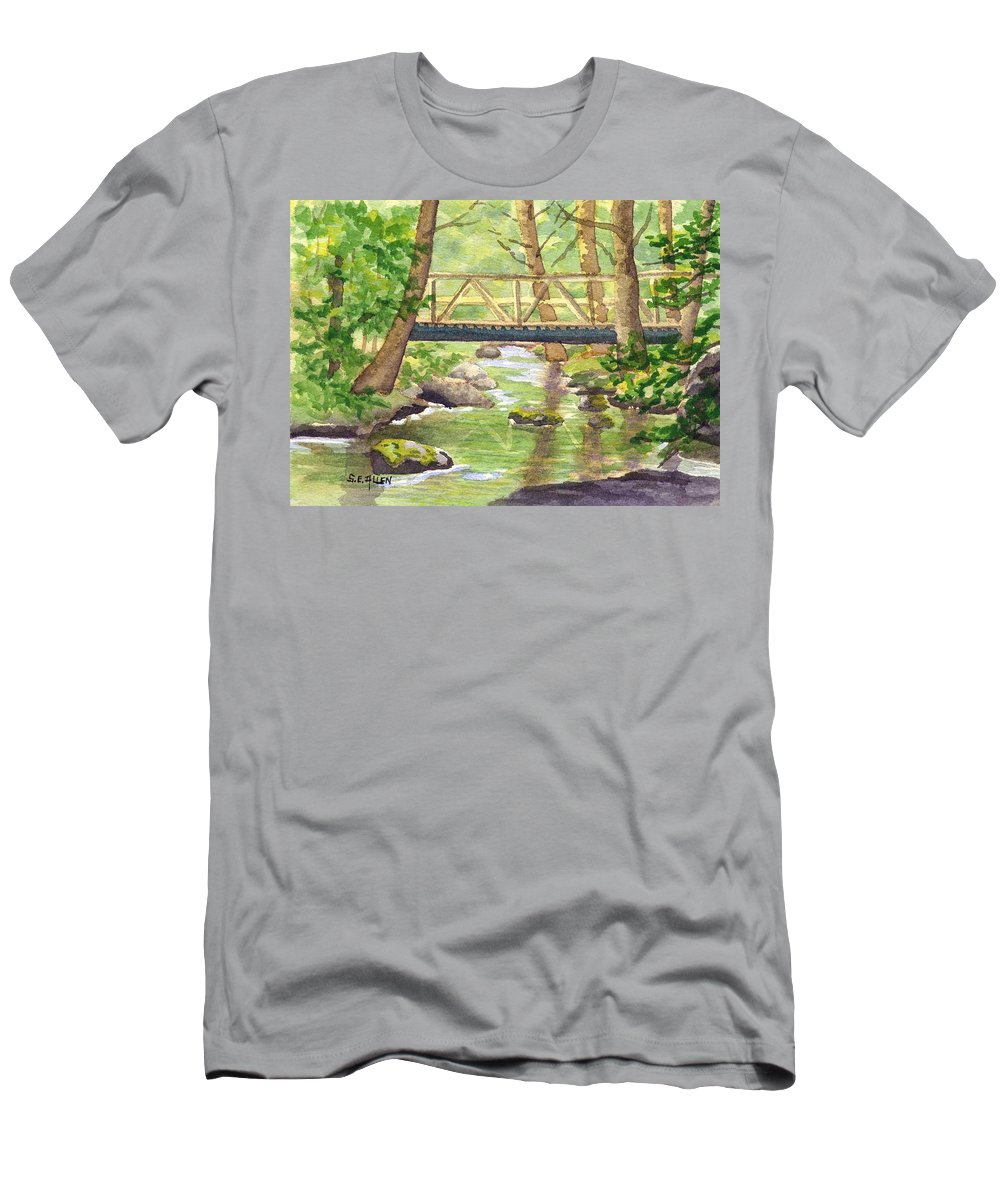 Stream Men's T-Shirt (Athletic Fit) featuring the painting Tuckers Brook by Sharon E Allen