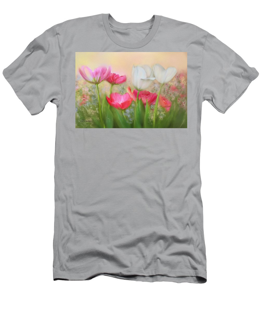 Tulips Men's T-Shirt (Athletic Fit) featuring the painting Tulip Garden by Bonnie Willis