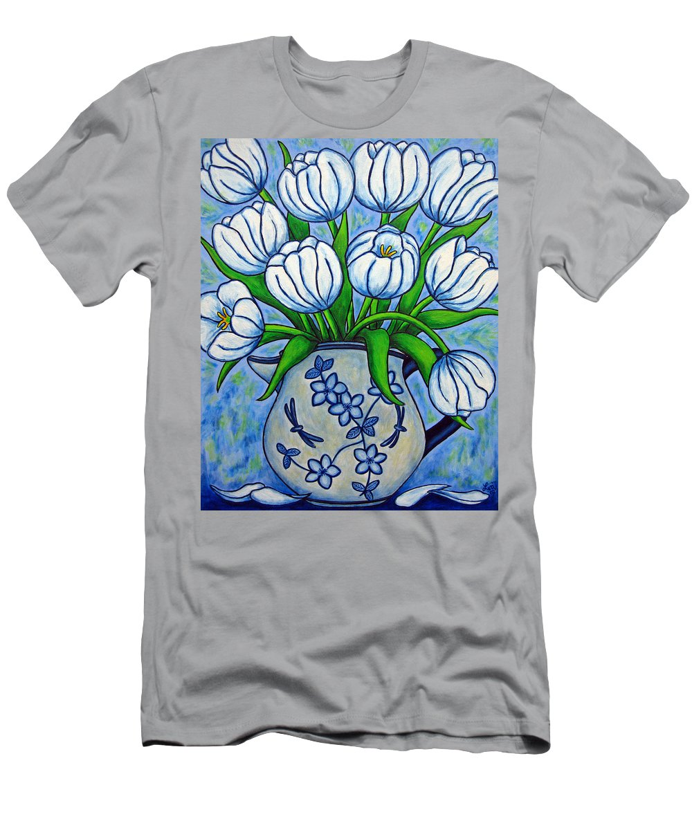 Flower Men's T-Shirt (Athletic Fit) featuring the painting Tulip Tranquility by Lisa Lorenz