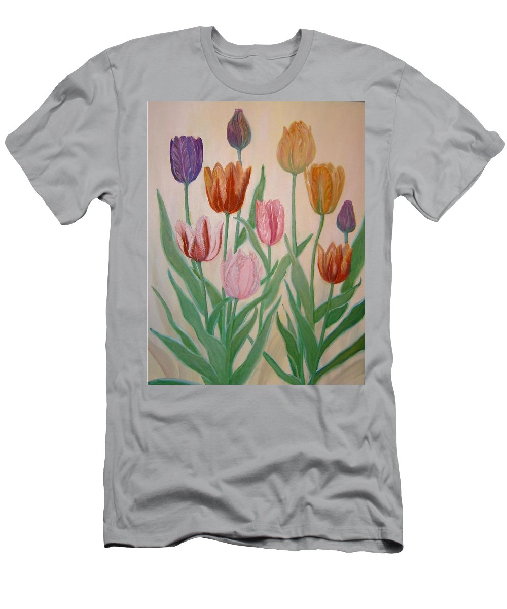 Flowers Of Spring Men's T-Shirt (Athletic Fit) featuring the painting Tulips by Ben Kiger