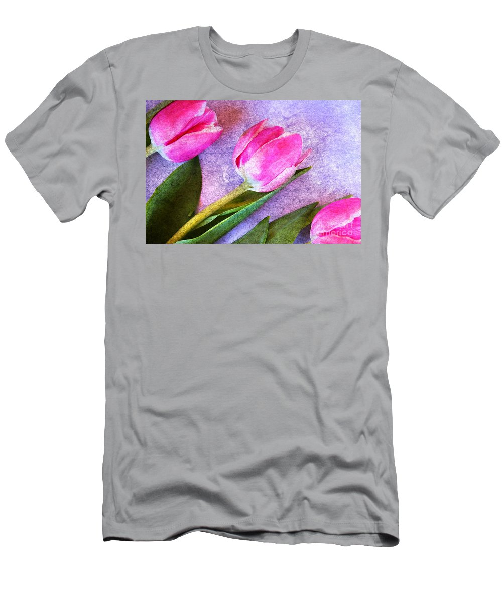 Tulip Men's T-Shirt (Athletic Fit) featuring the photograph Tulips Meets Texture by Clare Bevan