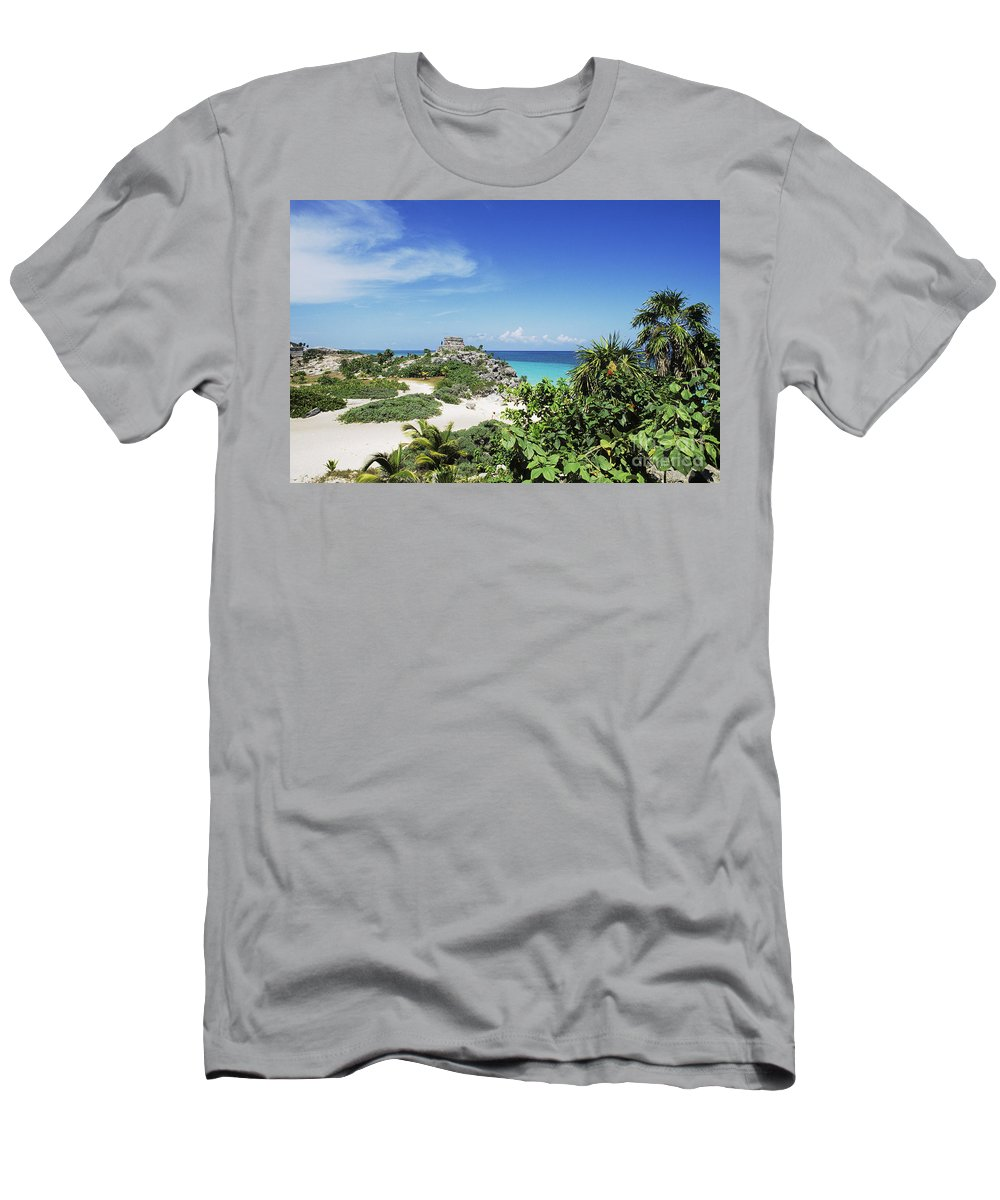 Ancient Men's T-Shirt (Athletic Fit) featuring the photograph Tulum Ruins by Bill Bachmann - Printscapes
