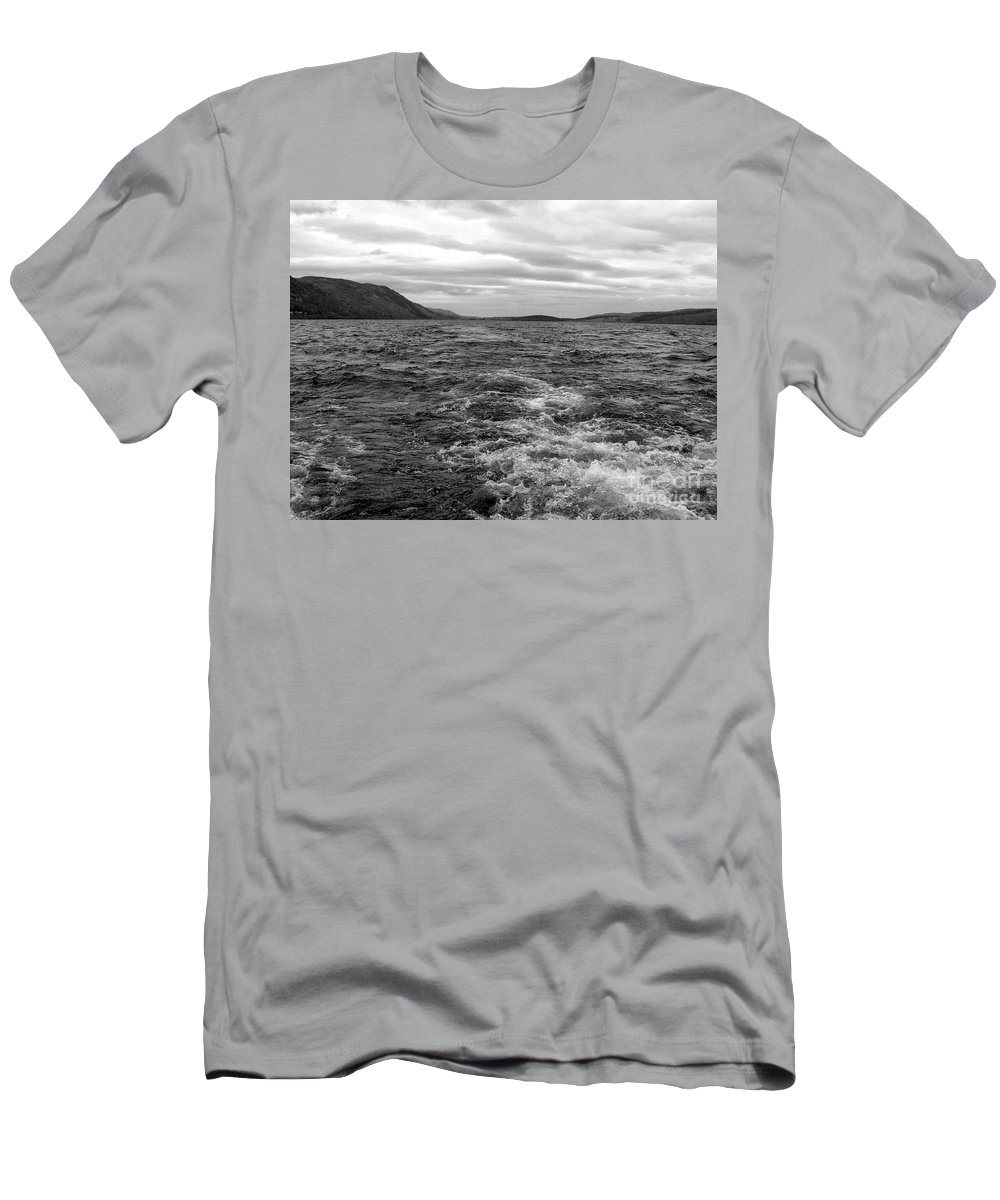 Loch Ness Men's T-Shirt (Athletic Fit) featuring the photograph Turbulent Loch Ness In Monochrome by Joan-Violet Stretch