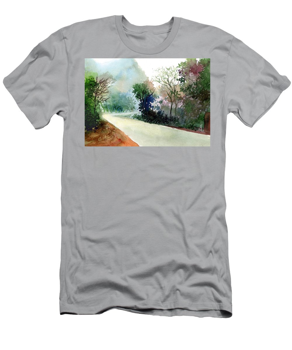 Landscape Water Color Nature Greenery Light Pathway Men's T-Shirt (Athletic Fit) featuring the painting Turn Right by Anil Nene