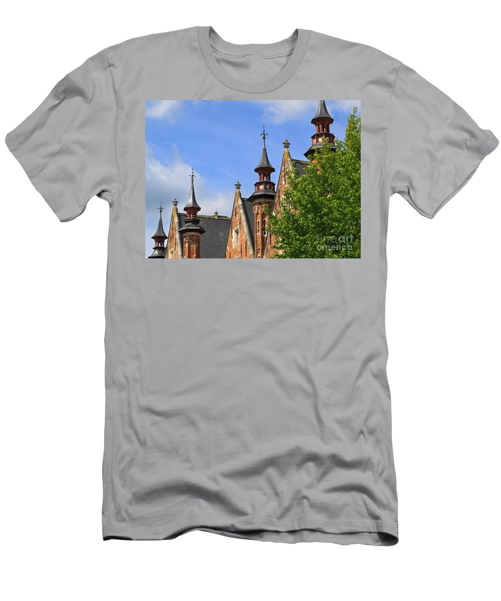 Steenhouwersdijk Men's T-Shirt (Athletic Fit) featuring the photograph Turrets And Roofs Beside Steenhouwersdijk Canal In Bruges by Louise Heusinkveld