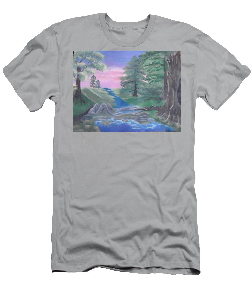 Bob Ross Style Men's T-Shirt (Athletic Fit) featuring the painting Turtle Crossing by Lori Lafevers