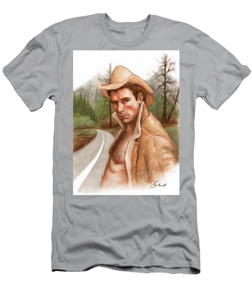 Cowboy Art Bruce Lennon Men's T-Shirt (Athletic Fit) featuring the painting Twin Peaks Cowboy by Bruce Lennon