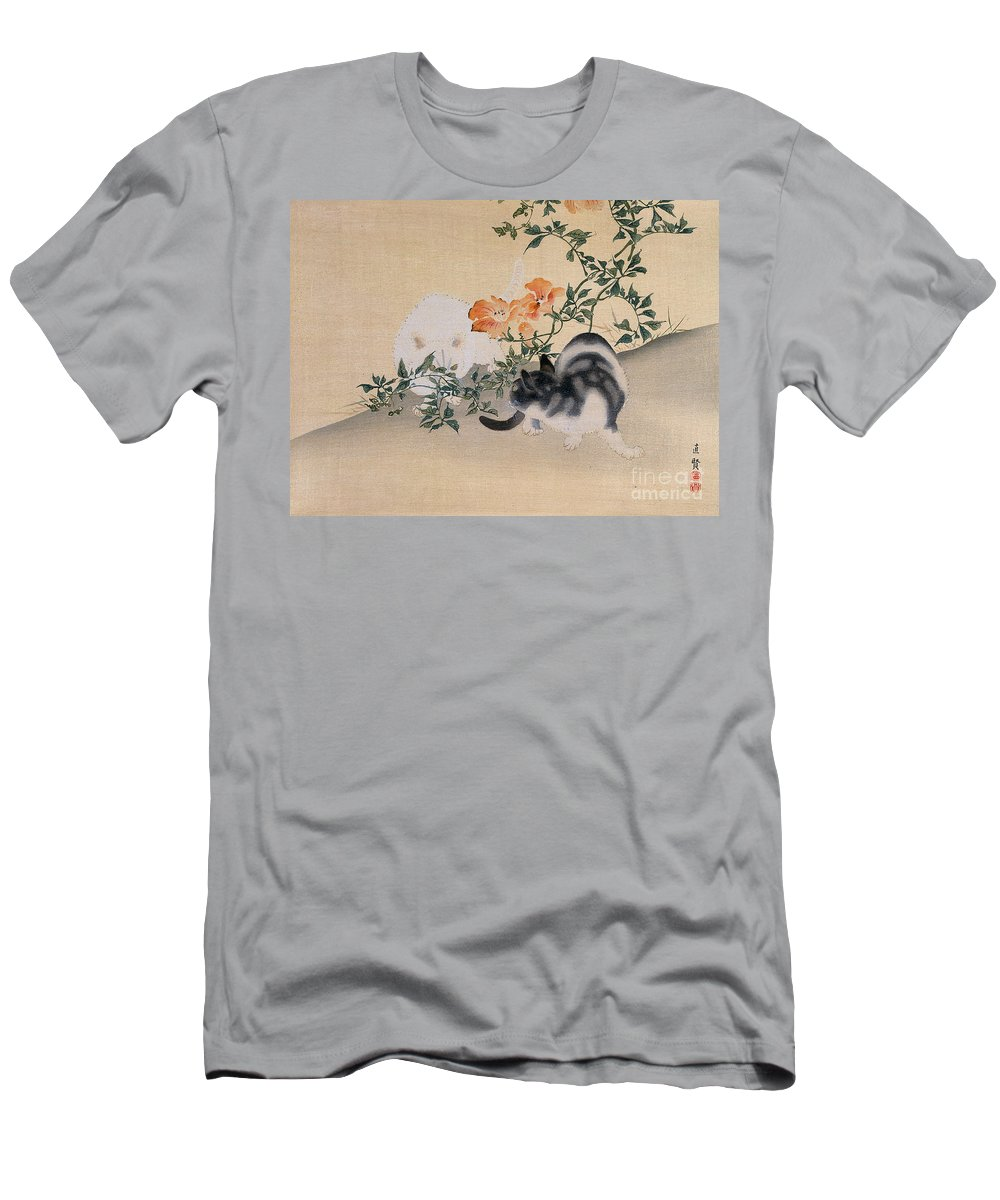 Black; White; Stripes; Striped; Hibiscus; Flower; Flowers; Chat; Chats; Asian; Oriental; Animal Men's T-Shirt (Athletic Fit) featuring the painting Two Cats by Japanese School