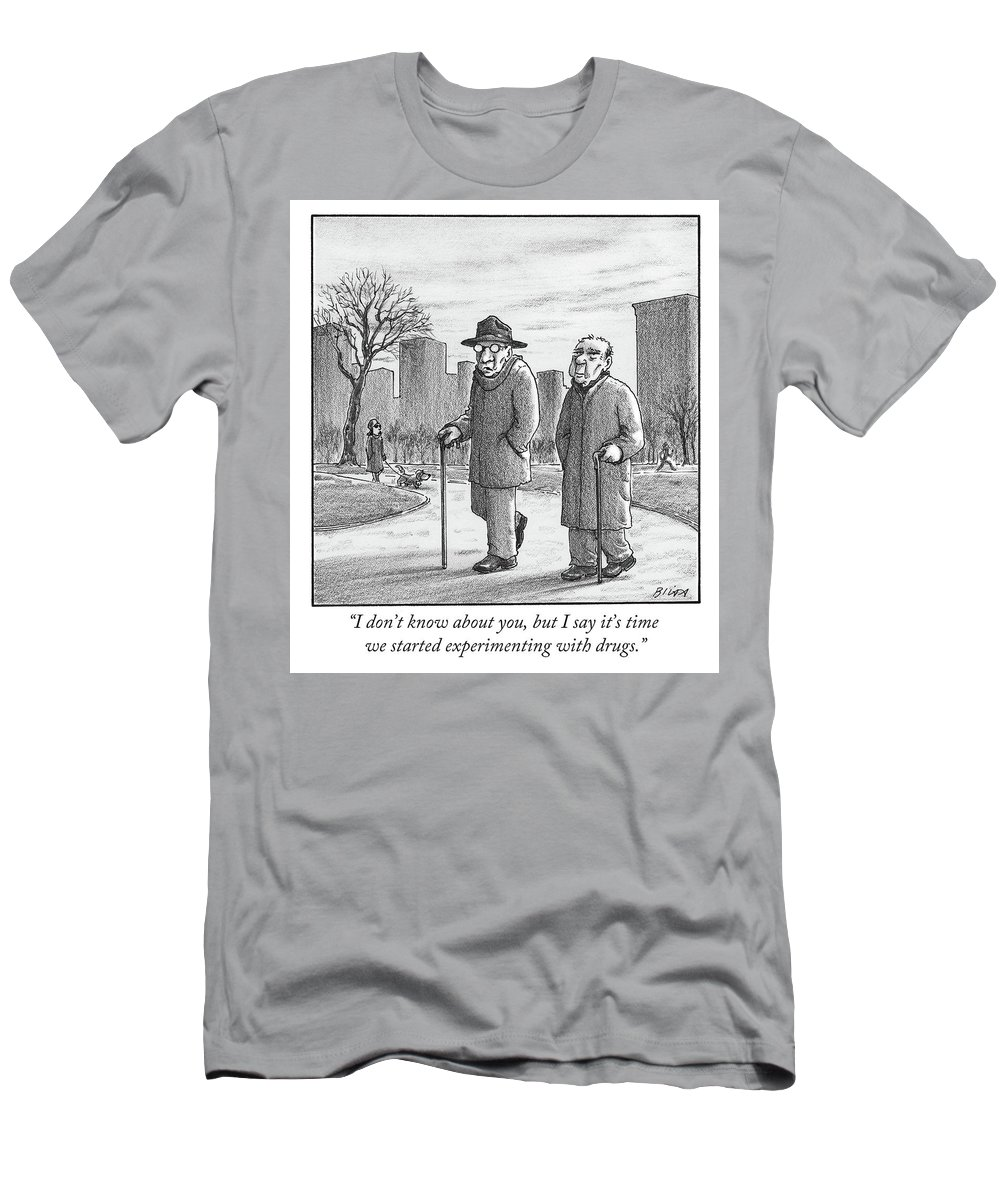 Cane T-Shirt featuring the drawing Two older men walk with canes through a park. by Harry Bliss