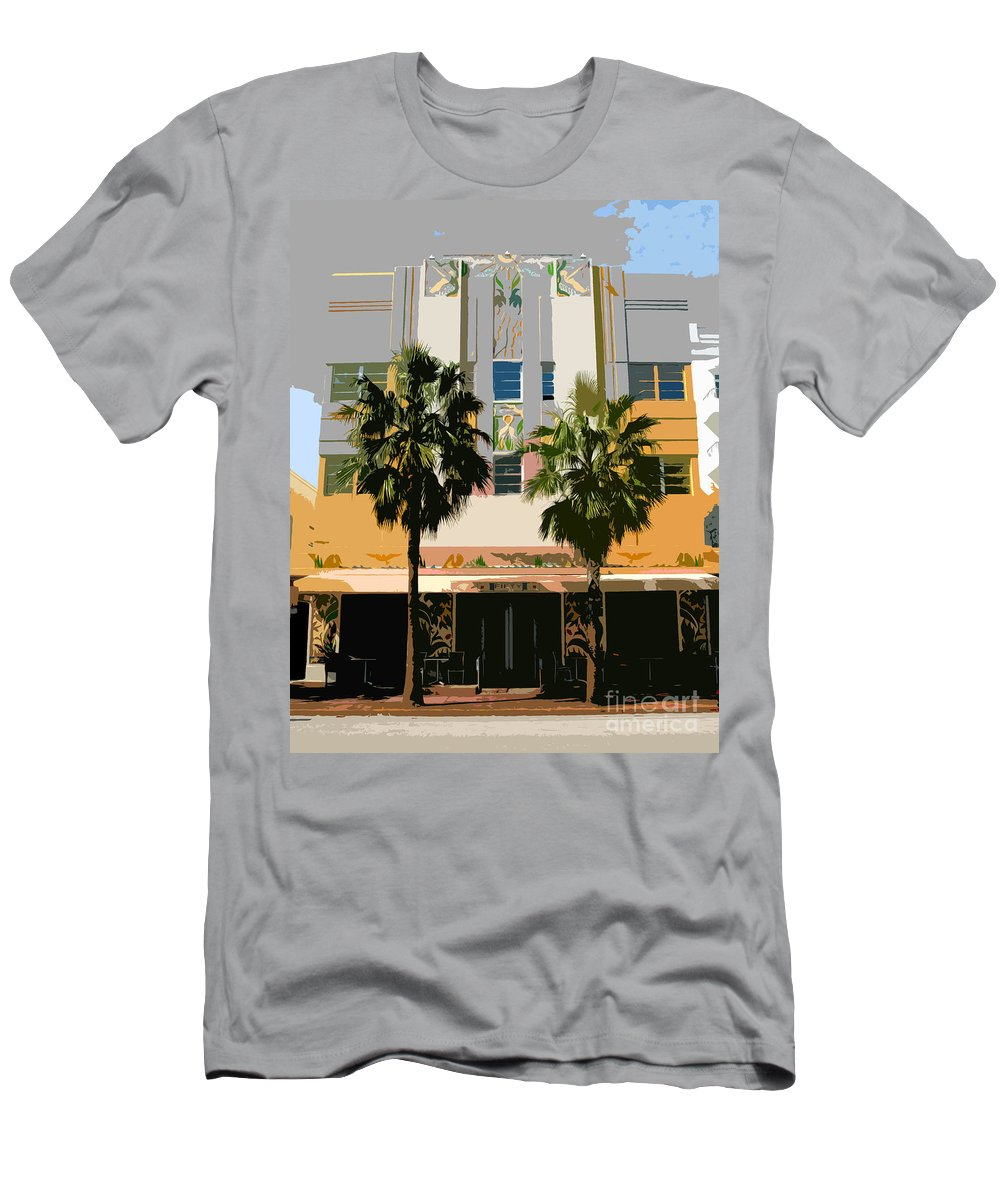 Miami Beach Florida Men's T-Shirt (Athletic Fit) featuring the photograph Two Palms Art Deco Building by David Lee Thompson