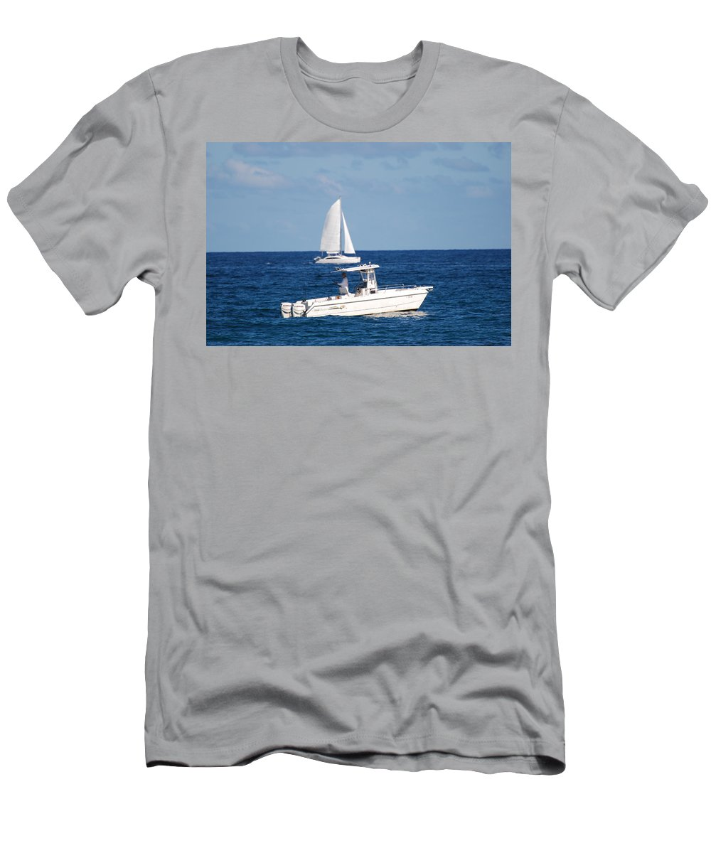 Sea Scape Men's T-Shirt (Athletic Fit) featuring the photograph Two Ships That Pass Thru The Day by Rob Hans
