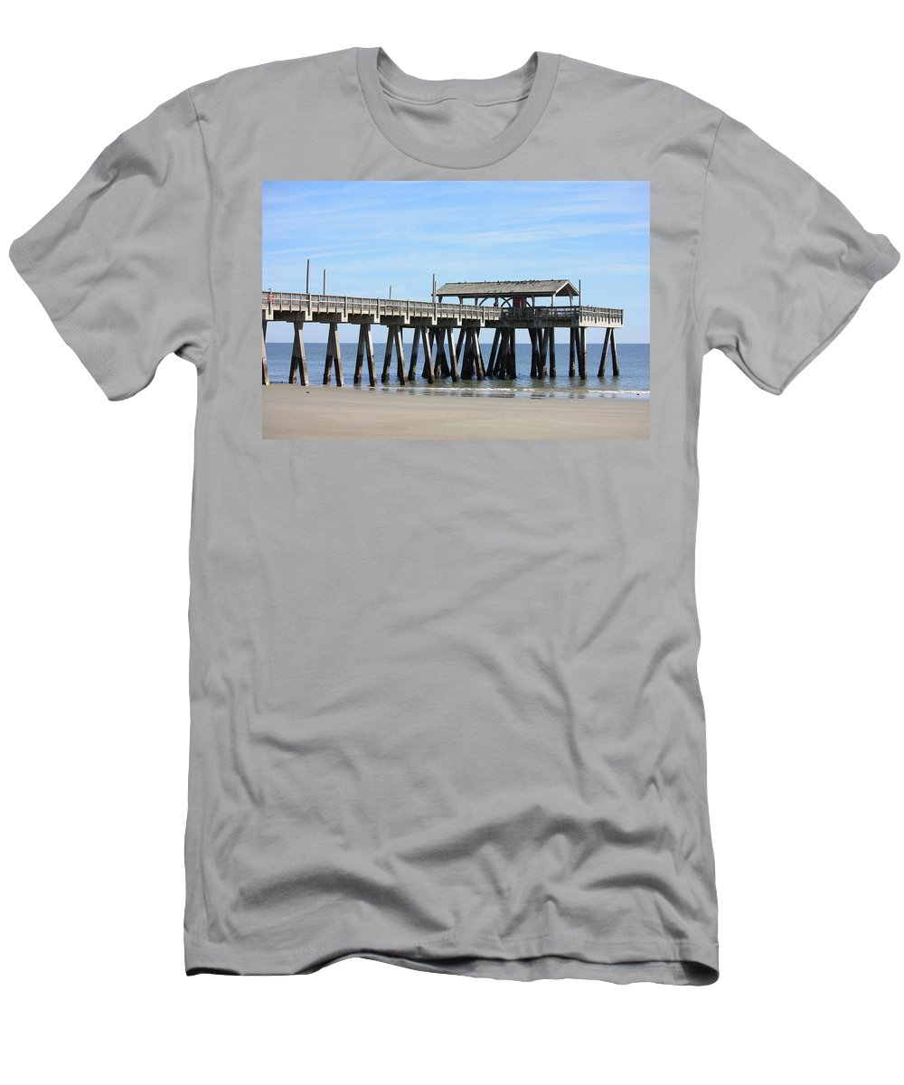 Tybee Island Pier Men's T-Shirt (Athletic Fit) featuring the photograph Tybee Island Pier Closeup by Carol Groenen