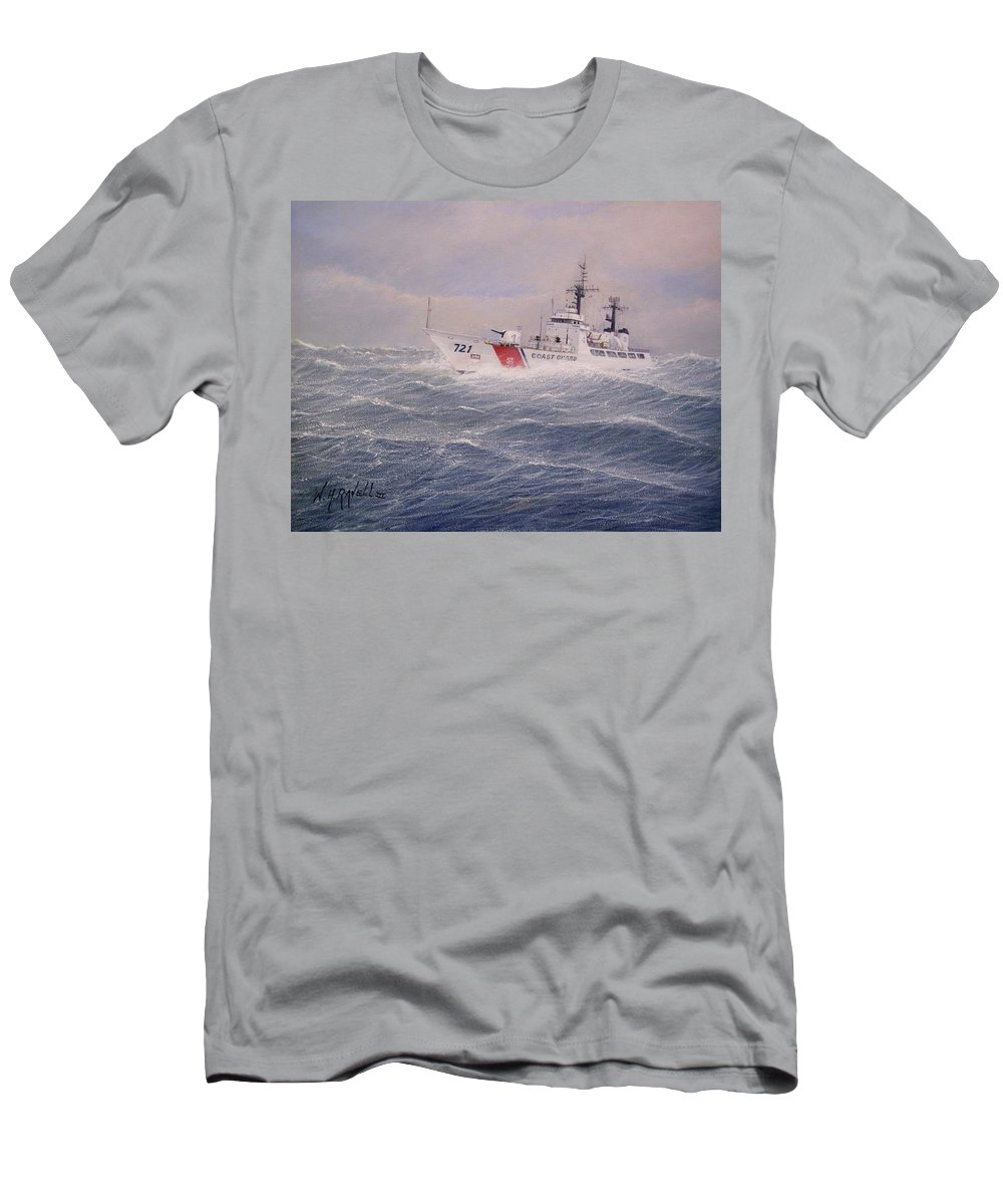 Ship Men's T-Shirt (Athletic Fit) featuring the painting U. S. Coast Guard Cutter Gallitin by William H RaVell III