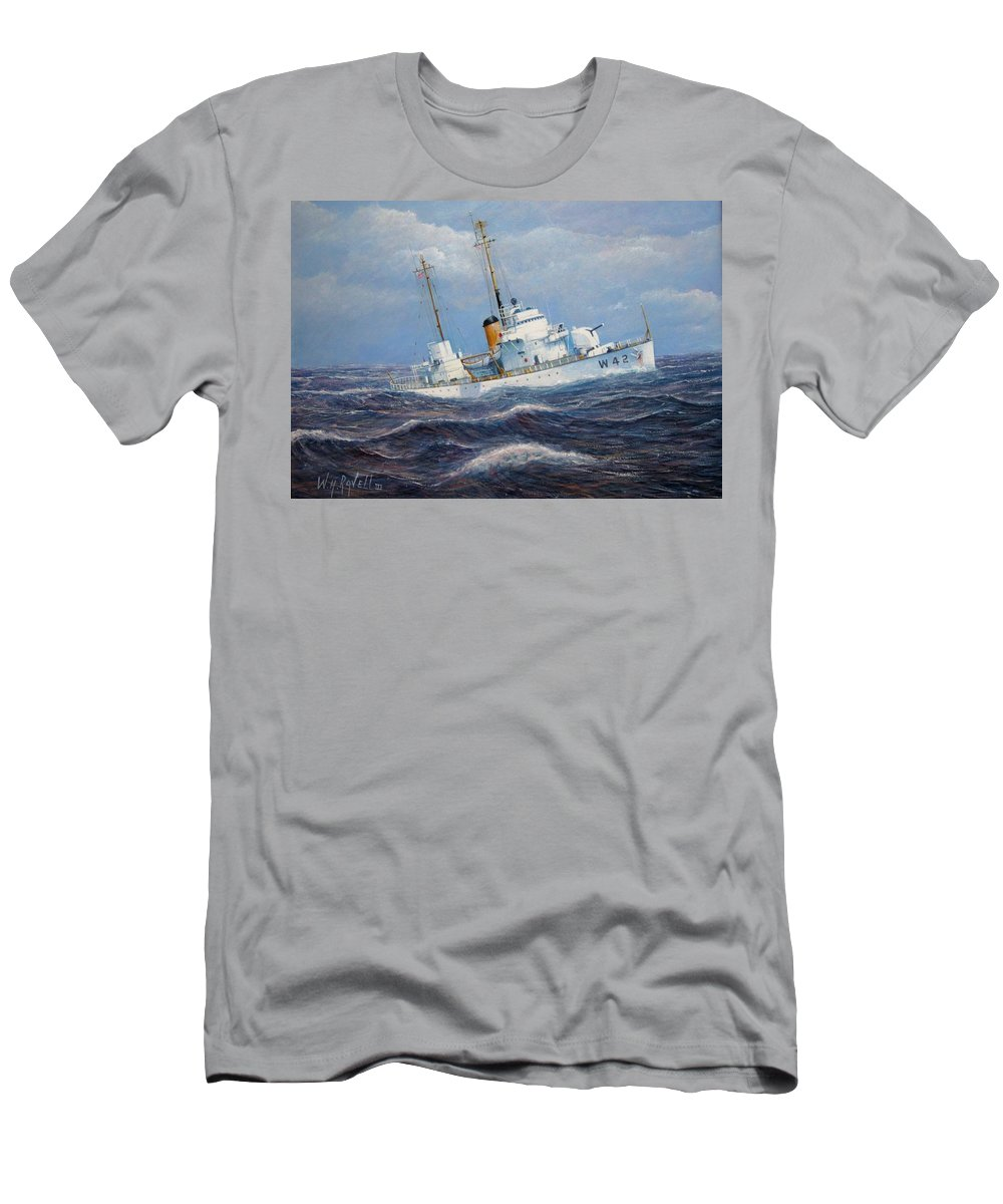 Marine Art Men's T-Shirt (Athletic Fit) featuring the painting U. S. Coast Guard Cutter Sebago Takes A Roll by William H RaVell III