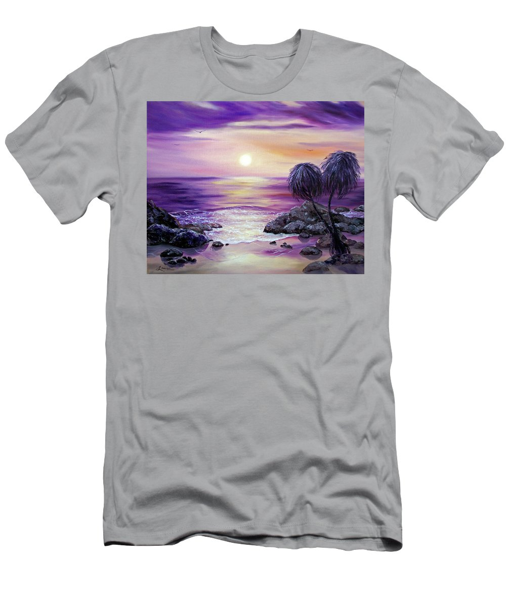 Impressionist Men's T-Shirt (Athletic Fit) featuring the painting Unawatuna Beach At Sunset by Laura Iverson
