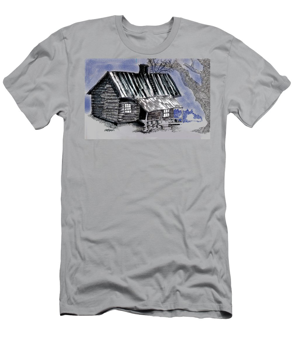 Cabin T-Shirt featuring the drawing Under a Tin Roof by Seth Weaver