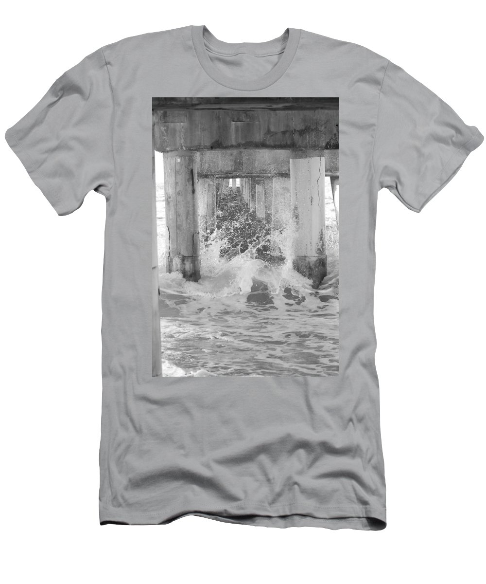 Black And White Men's T-Shirt (Athletic Fit) featuring the photograph Under The Boardwalk by Rob Hans