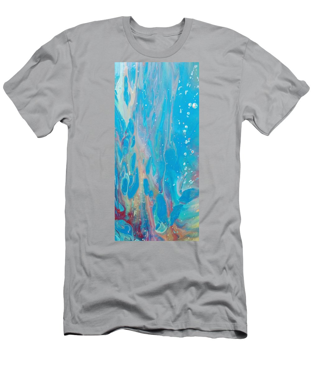 Water Sea Bubbles Blues T-Shirt featuring the painting Under the sea by Valerie Josi