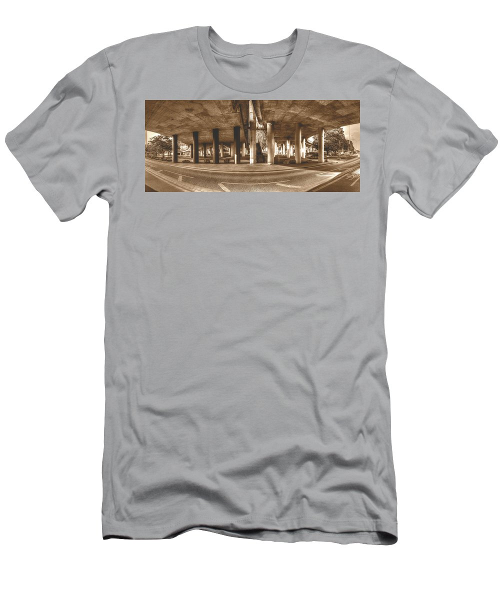 Architecture Men's T-Shirt (Athletic Fit) featuring the photograph Under The Viaduct B Panoramic Urban View by Jacek Wojnarowski