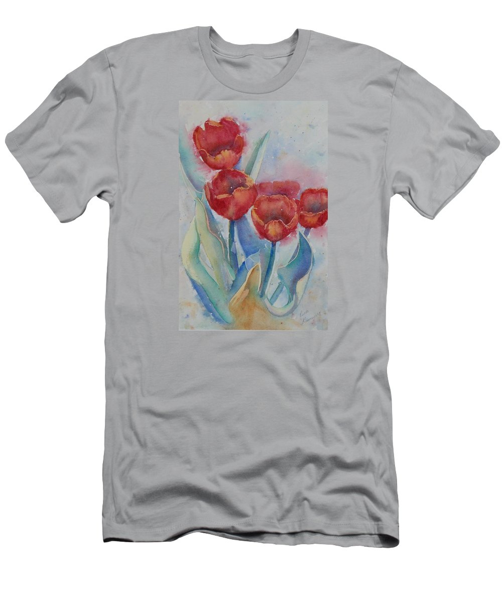 Flowers Men's T-Shirt (Athletic Fit) featuring the painting Undersea Tulips by Ruth Kamenev