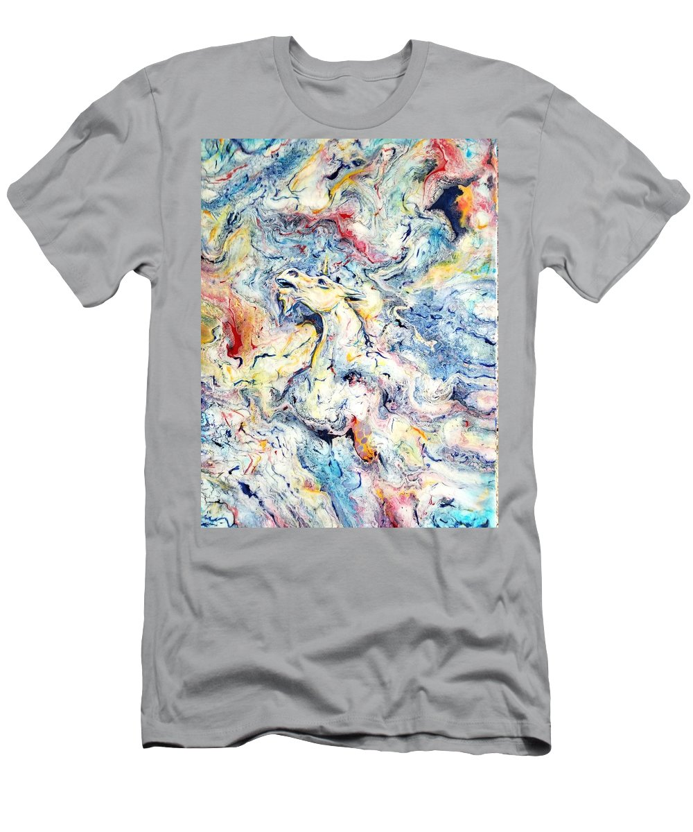 Unicorn Rainbow Magic Sky Fantasy Abstract Men's T-Shirt (Athletic Fit) featuring the painting Unicorns And Rainbows by Gail Butler