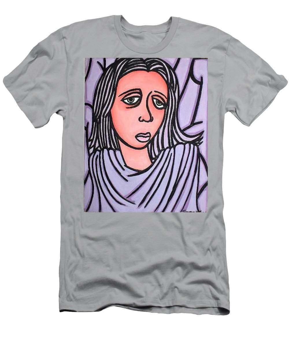 Portrait Men's T-Shirt (Athletic Fit) featuring the painting Unknown by Thomas Valentine