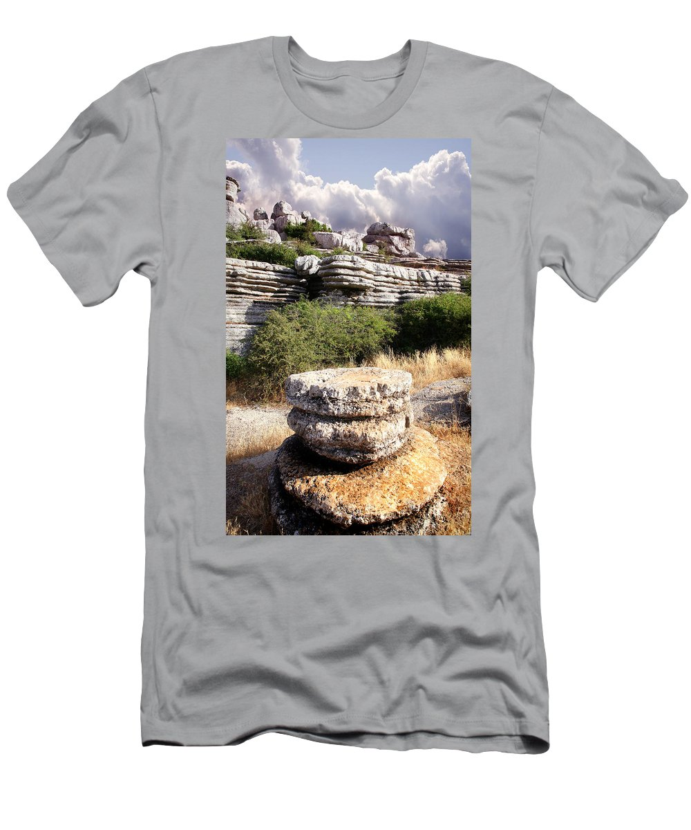 Limestone Men's T-Shirt (Athletic Fit) featuring the photograph Unusual Rock Formations In The El Torcal Mountains Near Antequera Spain by Mal Bray