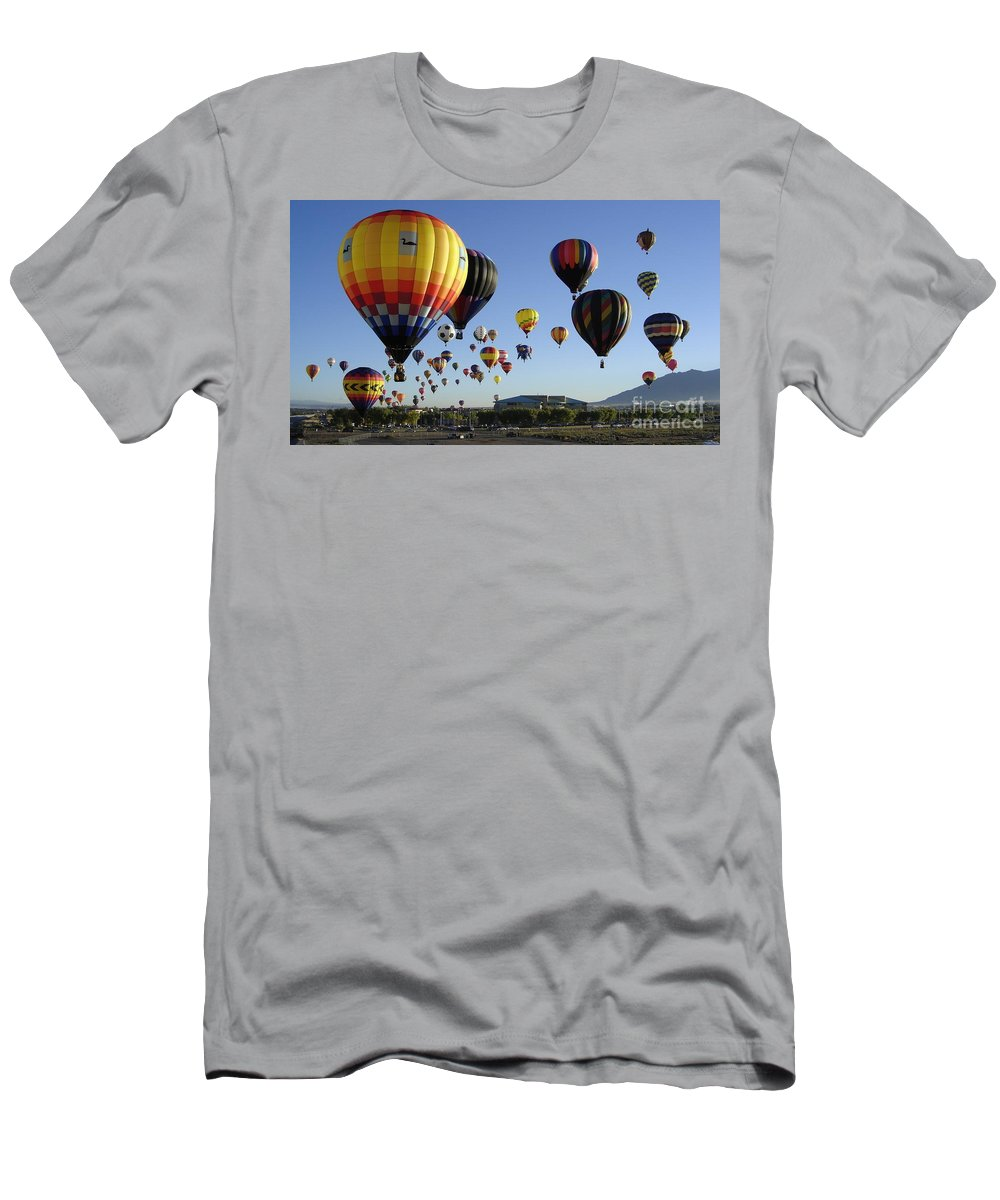 Balloons Men's T-Shirt (Athletic Fit) featuring the photograph Up And Away by Mary Rogers