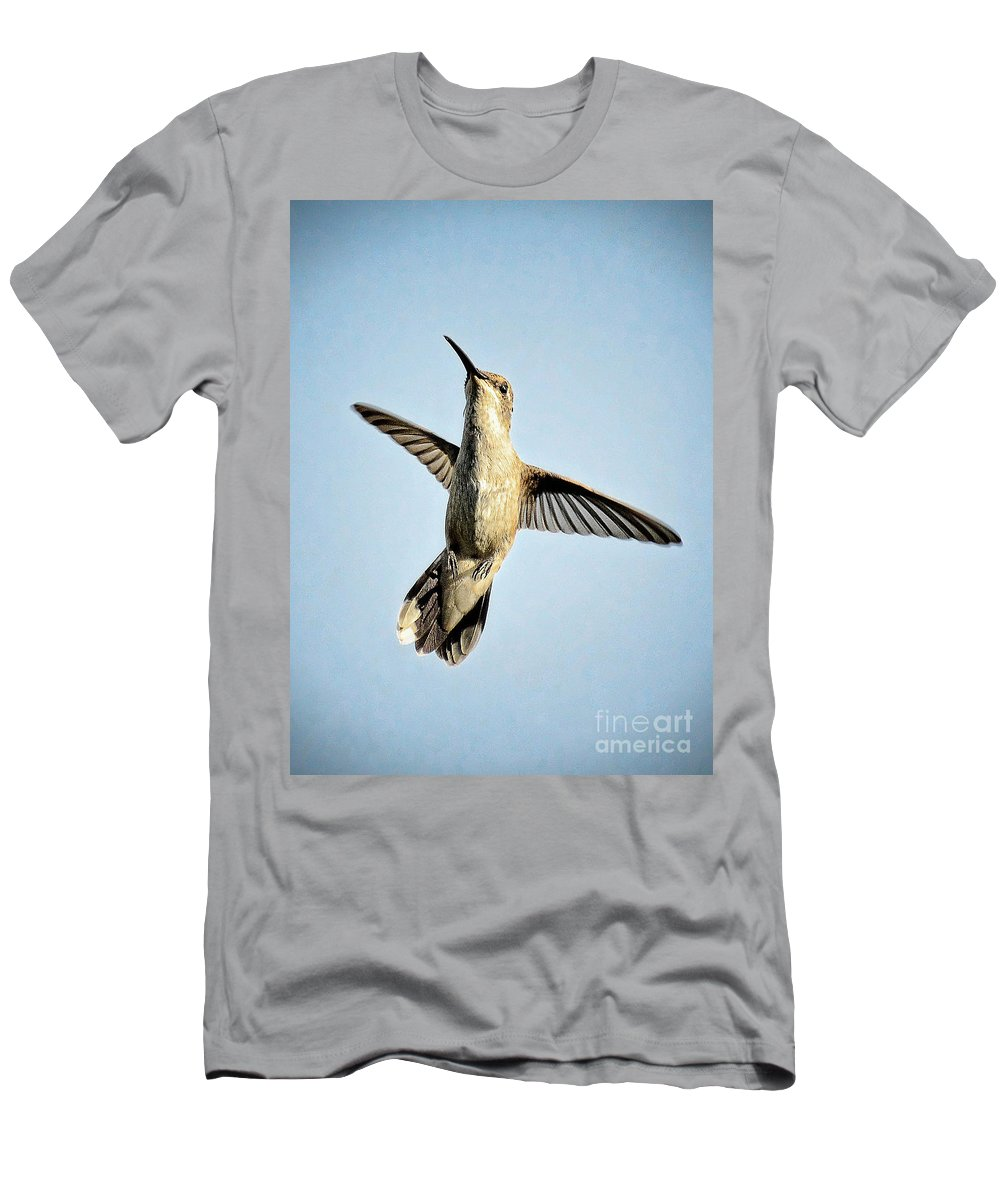Hummingbird Men's T-Shirt (Athletic Fit) featuring the photograph Up And Away by Saija Lehtonen