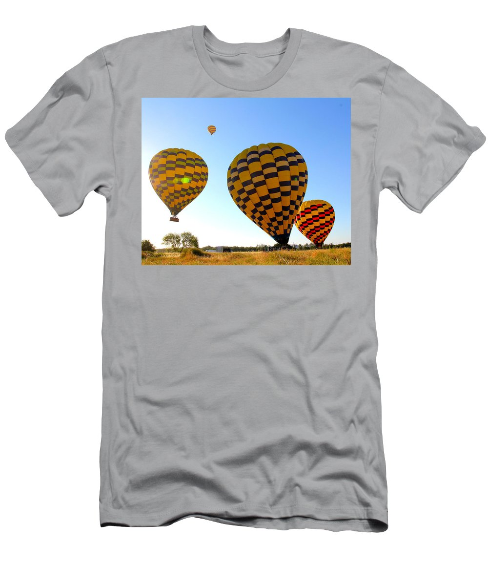 Hot Air Balloons Men's T-Shirt (Athletic Fit) featuring the photograph Up Up And Away by Steve Natale
