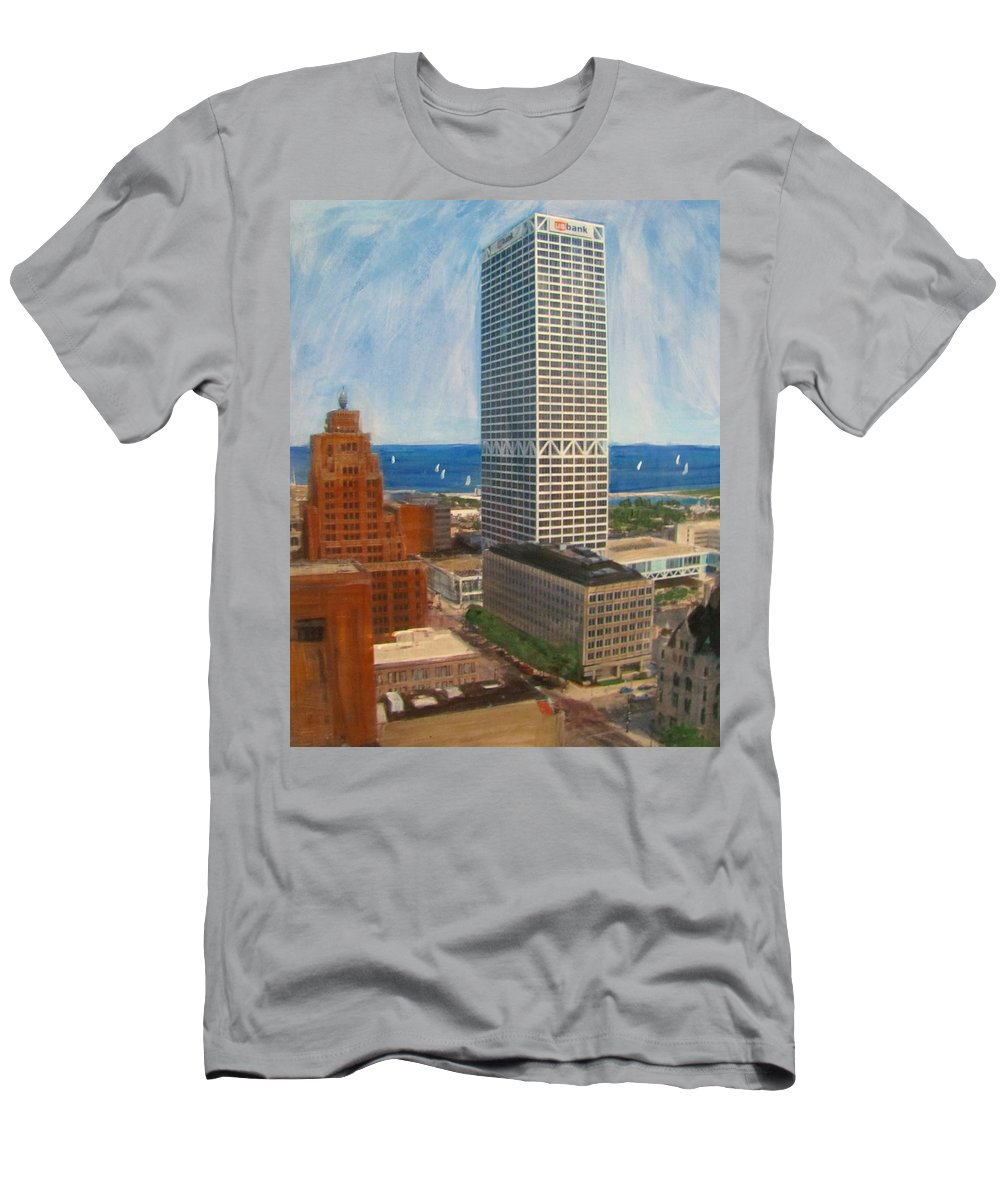 Milwaukee Men's T-Shirt (Athletic Fit) featuring the mixed media Us Bank And Sailboats by Anita Burgermeister