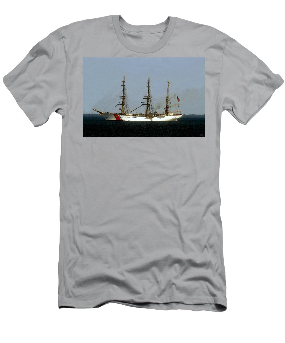 U.s. Coast Guard Men's T-Shirt (Athletic Fit) featuring the painting U.s. Coast Guard Eagle by David Lee Thompson