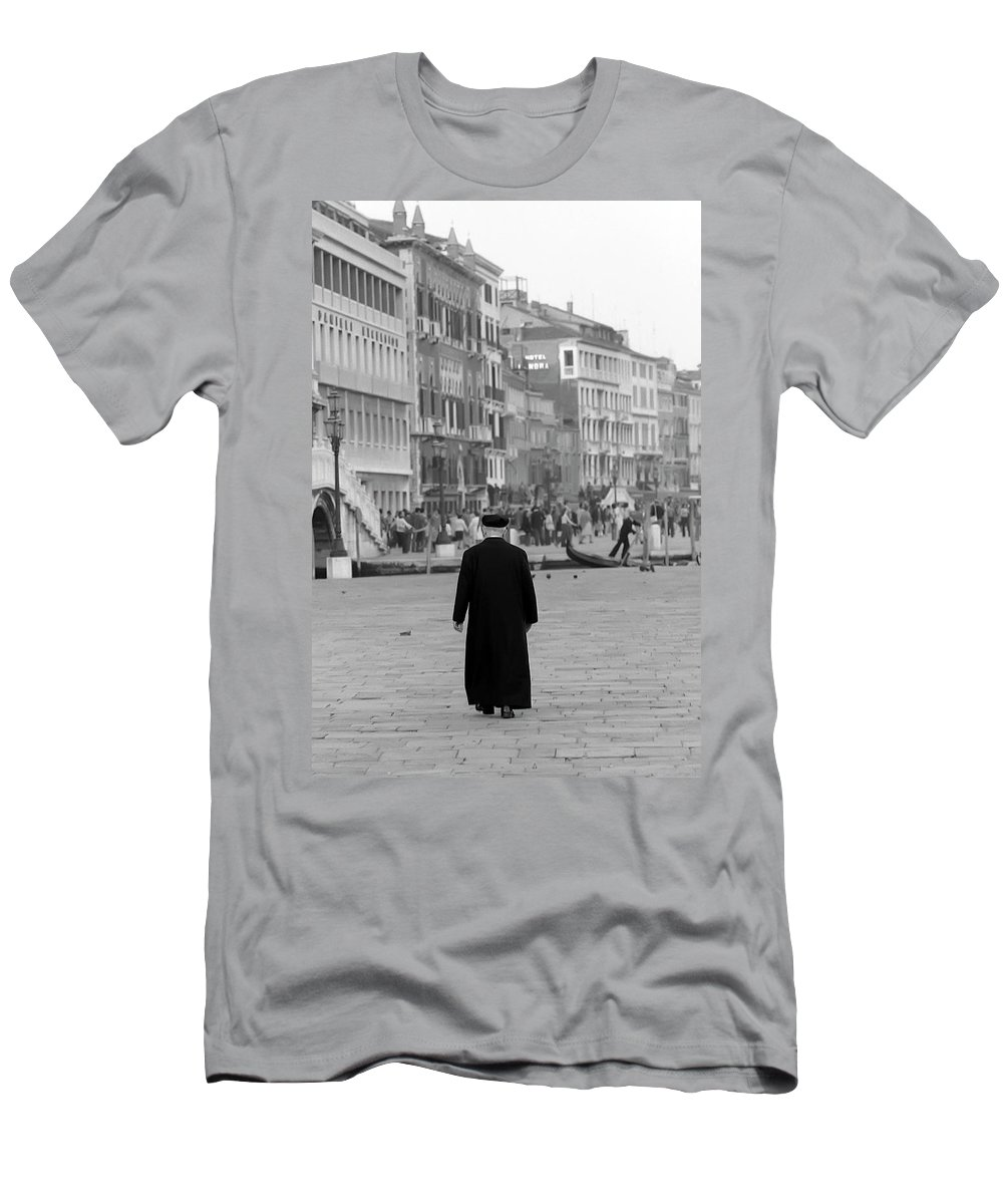 Venice Men's T-Shirt (Athletic Fit) featuring the photograph Venetian Priest And Gondola by KG Thienemann