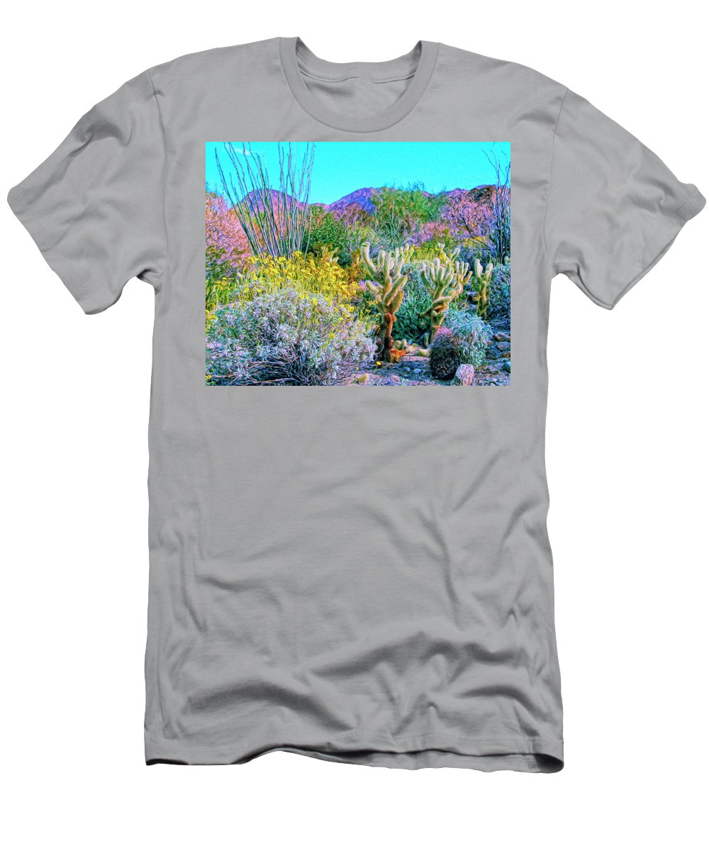 Verdant Spring Men's T-Shirt (Athletic Fit) featuring the painting Verdant Spring Mohave Desert by Dominic Piperata