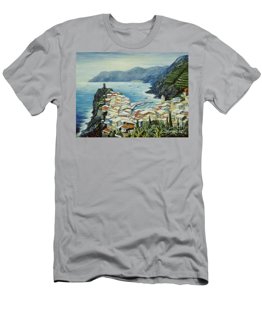 Vernazza Men's T-Shirt (Athletic Fit) featuring the painting Vernazza Cinque Terre Italy by Marilyn Dunlap