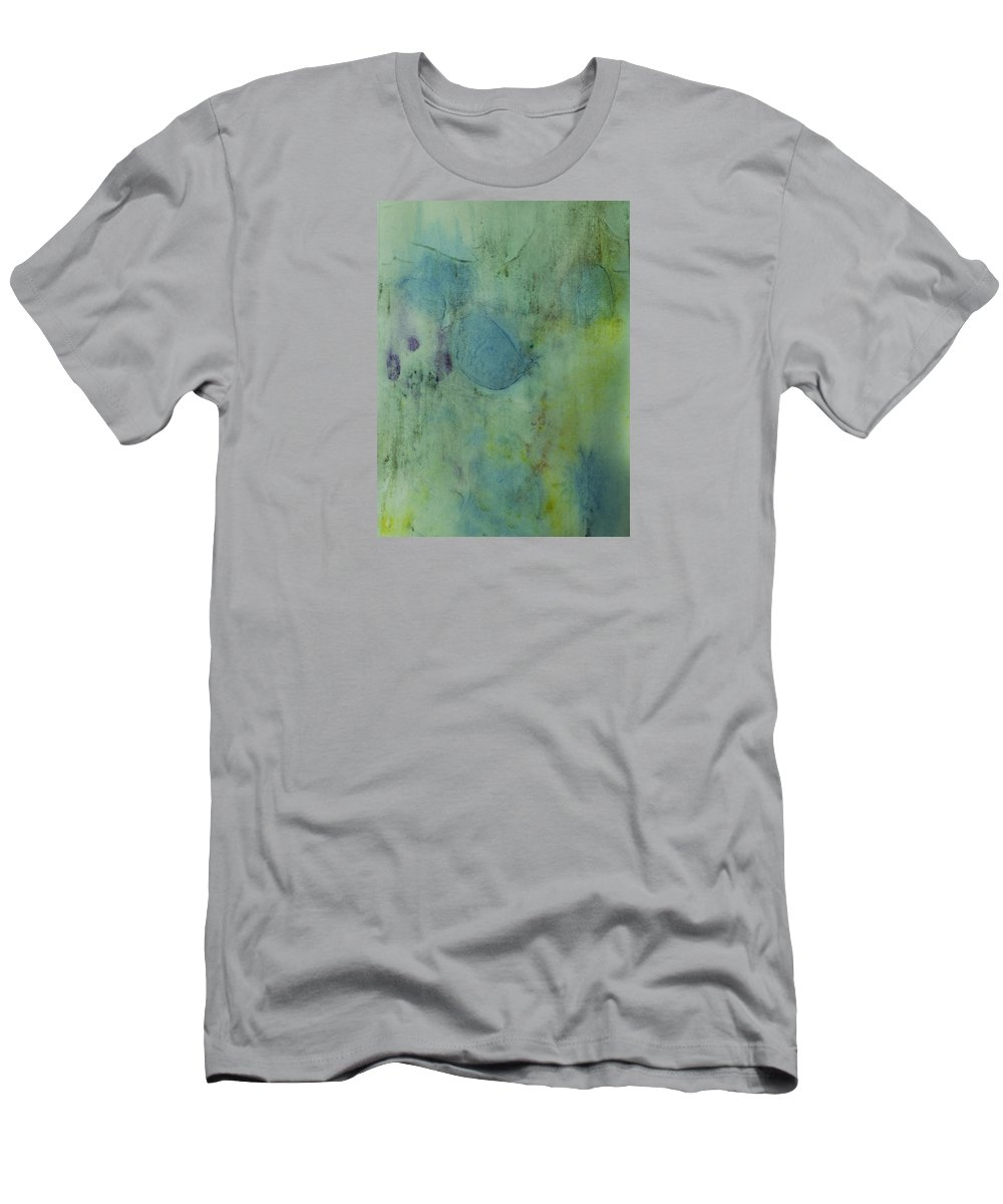 Abstracts Men's T-Shirt (Athletic Fit) featuring the painting Vibrant Green Abstract Ink Design by Peter v Quenter