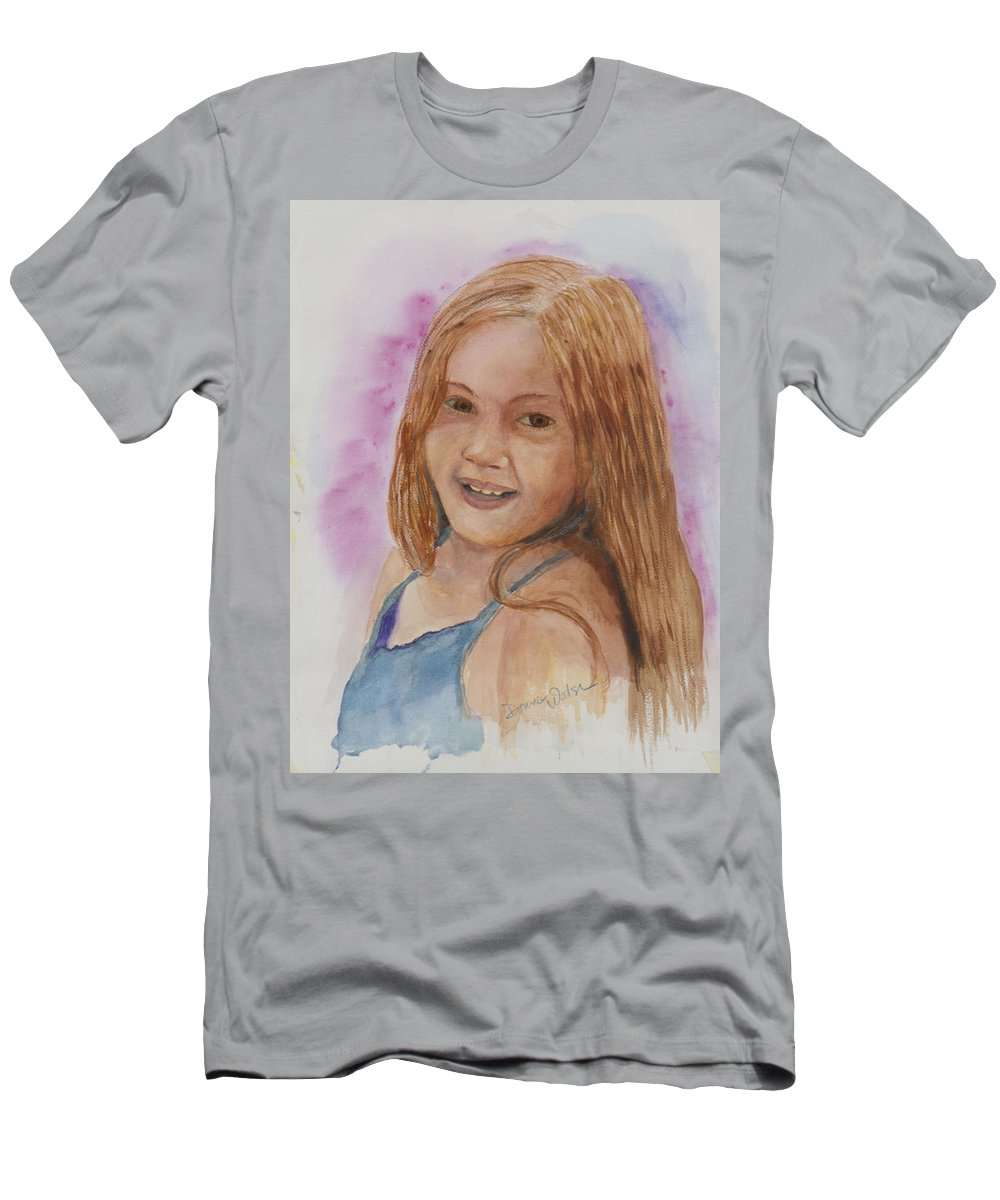 Girl. Portrait Men's T-Shirt (Athletic Fit) featuring the painting Victoria by Donna Walsh