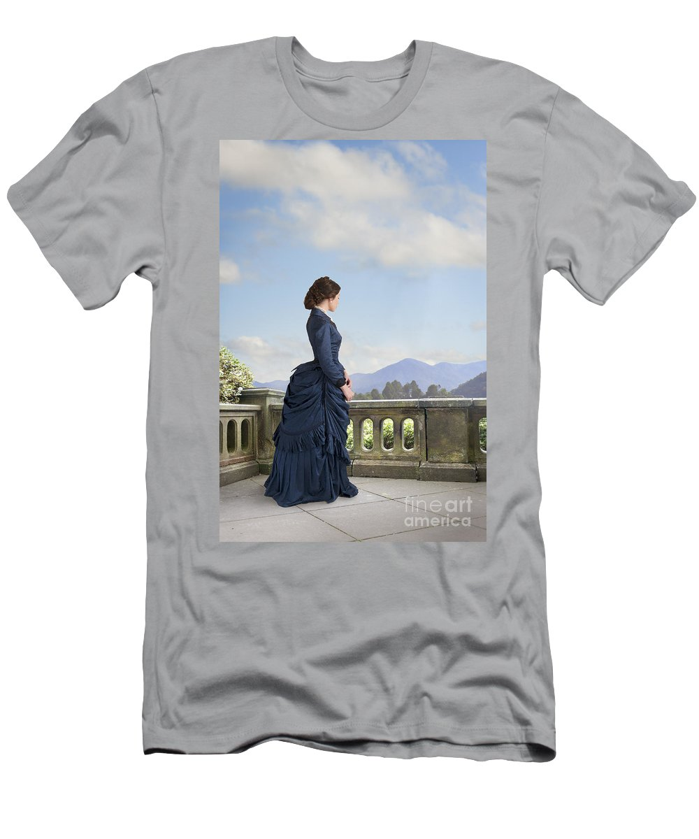 Victorian Men's T-Shirt (Athletic Fit) featuring the photograph Victorian Woman In A Blue Dress Standing On The Terrace by Lee Avison
