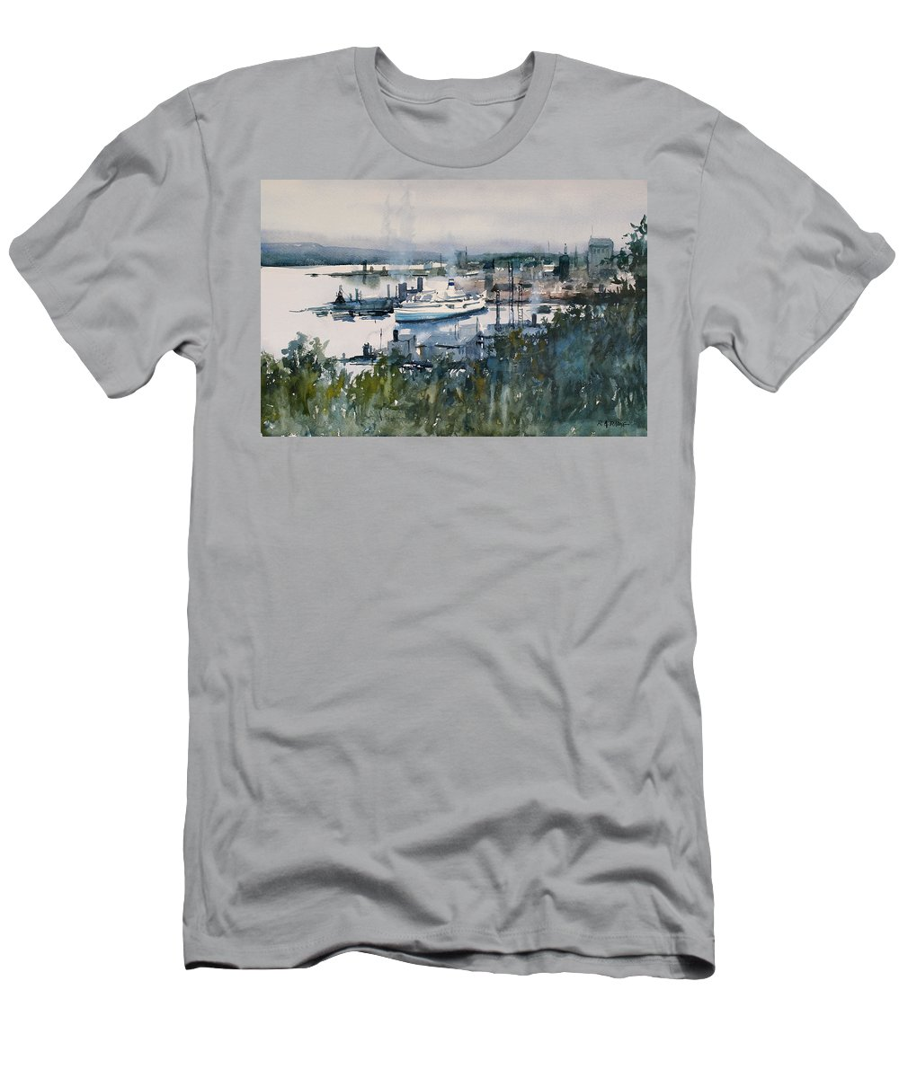 Harbor Men's T-Shirt (Athletic Fit) featuring the painting View From Above by Ryan Radke