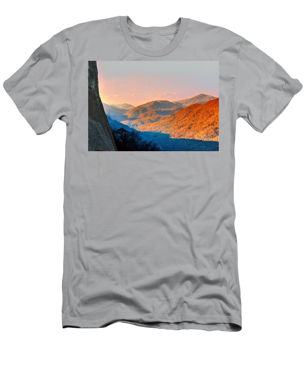 Landscape Men's T-Shirt (Athletic Fit) featuring the photograph View From Chimney Rock-north Carolina by Steve Karol