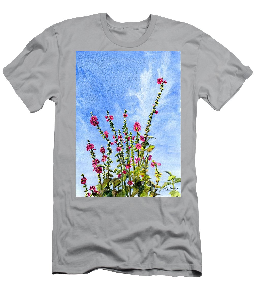 Reach To The Sky Men's T-Shirt (Athletic Fit) featuring the painting View From Main St Monhegan by Melly Terpening