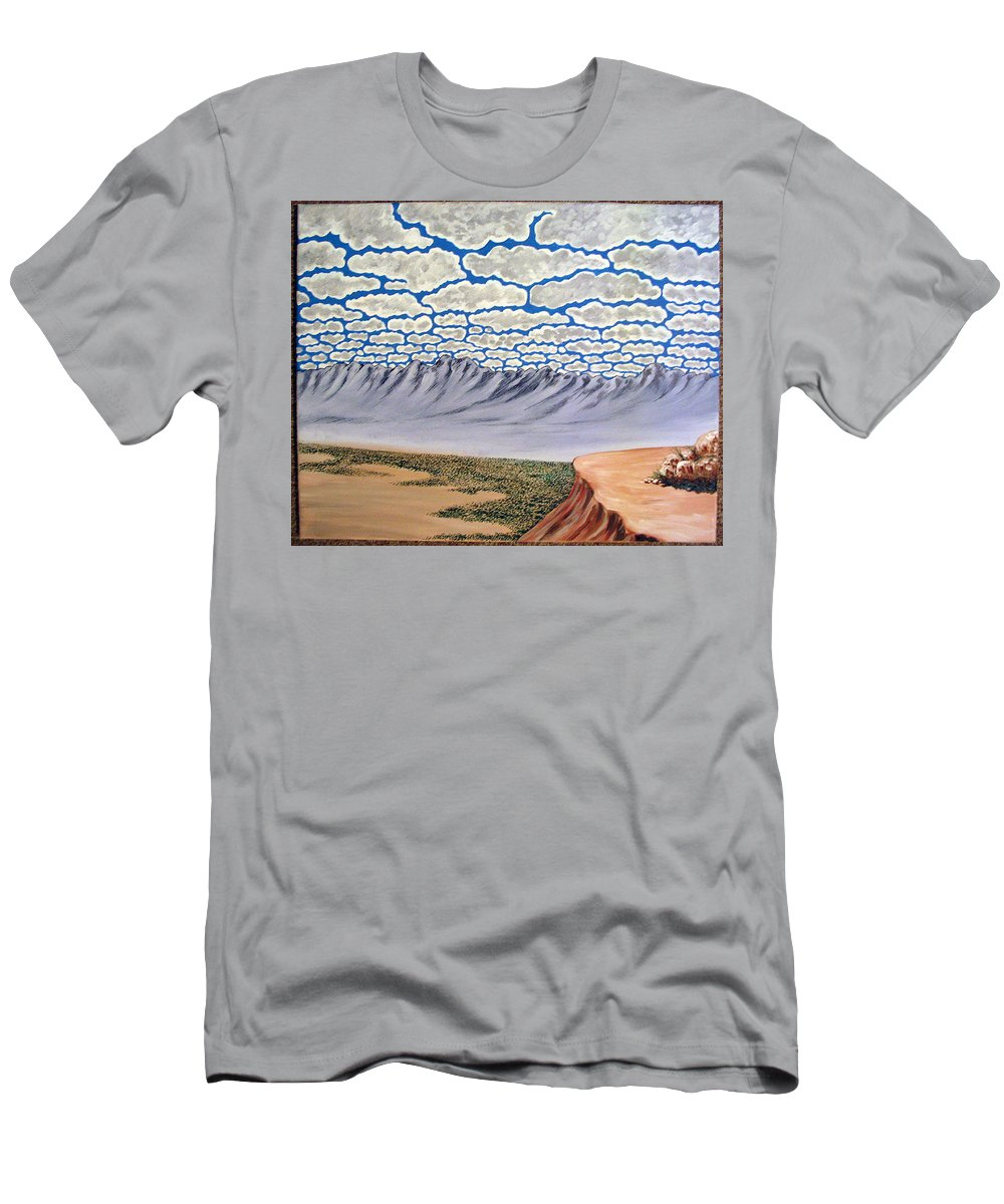 Desertscape Men's T-Shirt (Athletic Fit) featuring the painting View From The Mesa by Marco Morales