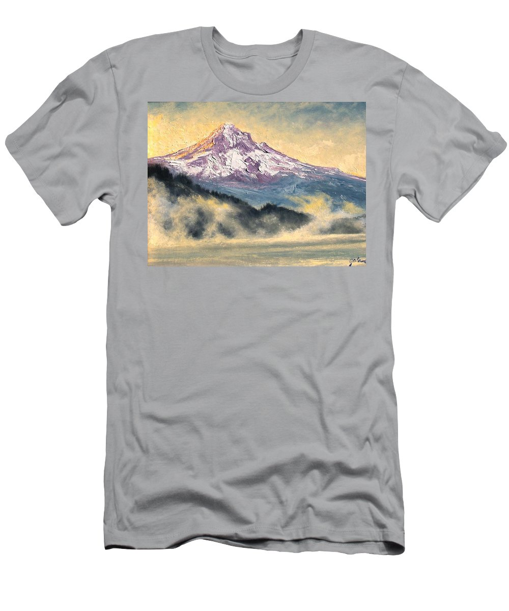 Lanscape Men's T-Shirt (Athletic Fit) featuring the painting View Of Mt Hood by Jim Gola