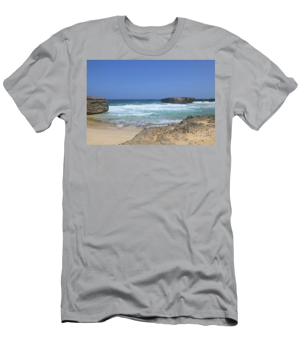 Boca Keto Men's T-Shirt (Athletic Fit) featuring the photograph View Of Small Aruba Rock Formation On Boca Keto by DejaVu Designs