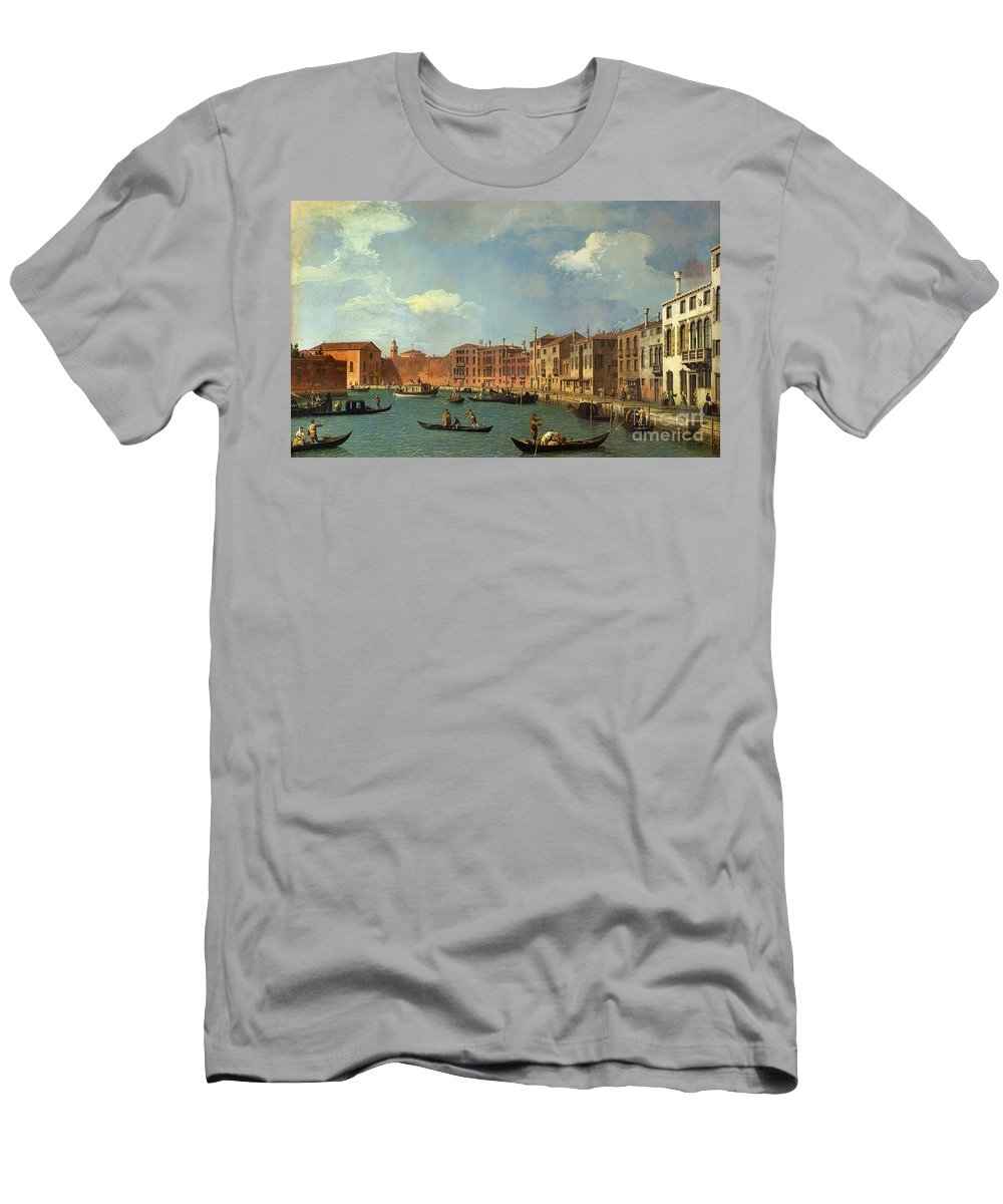 View Of The Canal Of Santa Chiara Men's T-Shirt (Athletic Fit) featuring the painting View Of The Canal Of Santa Chiara by Canaletto