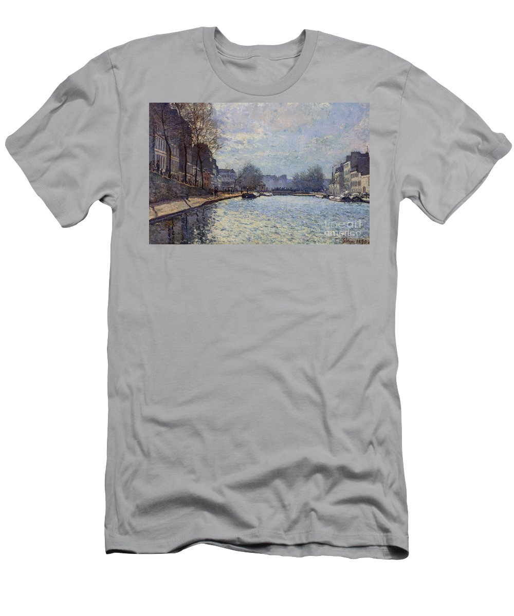 Canals Men's T-Shirt (Athletic Fit) featuring the painting View Of The Canal Saint-martin Paris by Alfred Sisley